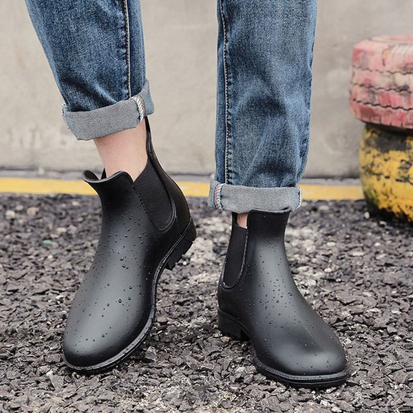 88ca46b119d Men Martin Rain Boots Black Chelsea Rubber Boots Casual Lovers Botas Slip  On Waterproof Ankle Boots Moccasins Rain Shoes Cheap Shoes For Women ...