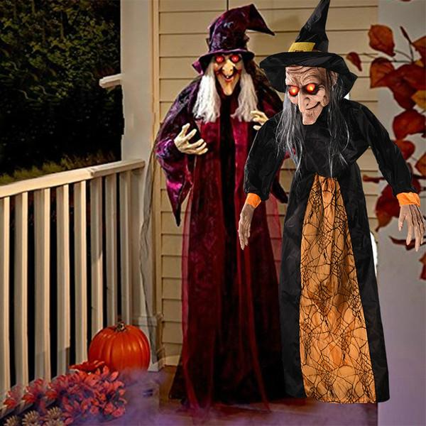 Хэллоуин Страшного украшения Prop зомби колдунья платяной Голова Призрак Ужасных LED Глаза Terrible Звук Дети партия Страшные игрушки