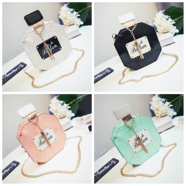 Perfume bottle shaped Shoulder Bag 3D chain letter crossbody bag round party Phone pack girl lady gift FFA1793