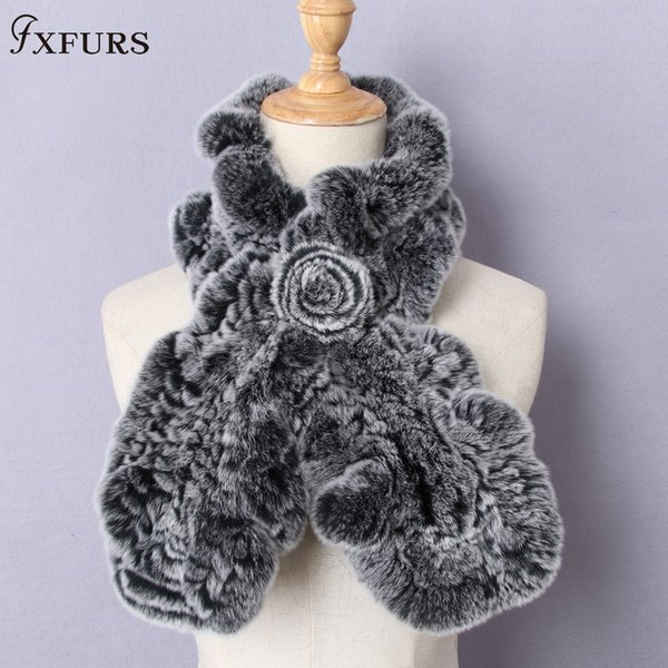 FXFURS High Quality Fashion Womens Knitted Rex Rabbit Fur Scarves Natural Fur Neckerchief Winter Real Flounce scarf Wraps