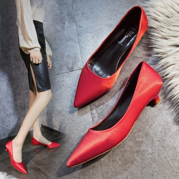 24646487acc Designer Dress Shoes Pumps Women Kitten Heels Satin Dress Pointed Toe OL  Office Lady Career Wedding