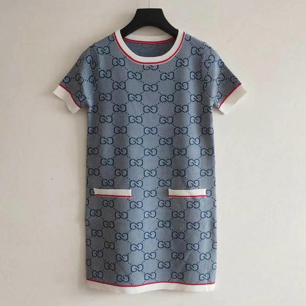 Mini abiti da donna Designer 2019 Summer Hot Sale Casual Dress Donna Lettere a girocollo Stampato Abito da donna di lusso a maniche corte Gonne
