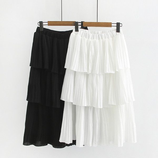 2019 New Spring Summer Casual Fashion Gonne Donna Solid White Cotton Linen Girl Lady Oversize Plus Size Gonna