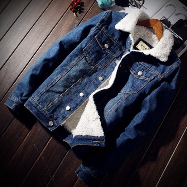 Männer Jacke und Mantel Trendy Warm Fleece Thick Jeansjacke 2018 Winter Fashion Mens Jean Outwear Männlich Cowboy Plus Size