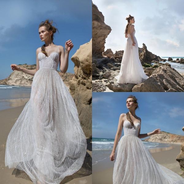 Limor Rosen 2019 Bohemian Beach Wedding Dresses Bling Bling Crystal Spaghetti Neck Bridal Gowns A Line Wedding Dress Vestidos De Novia