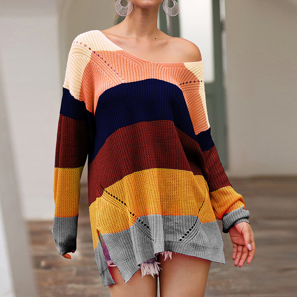Laamei New 2019 Spring Fashion Korean Women Rainbow Oversized Long Knitted Sweater Cape Tops Femme Warm Sweaters Sueter Mujer