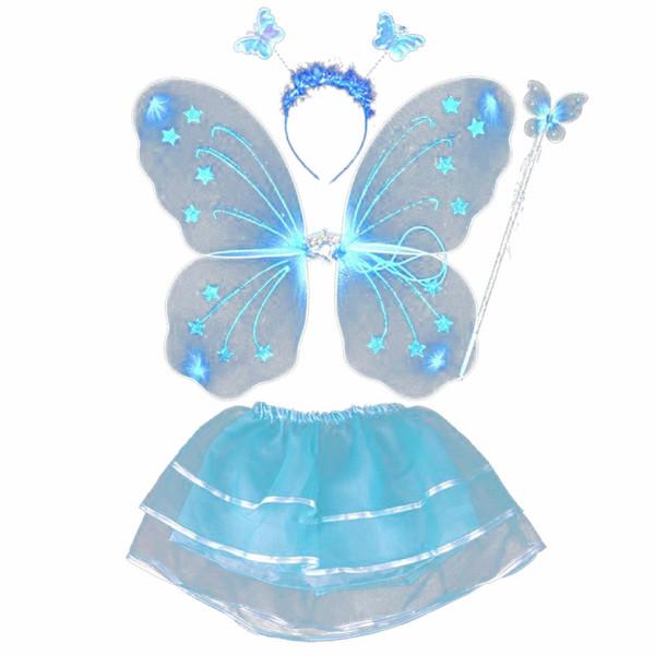4Pcs Fairy Princess Kids Costume Sets Butterfly Wings Wand Headband Tutu Skirt