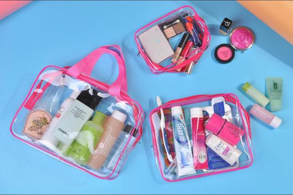 3 Pcs Ensemble Maquillage Sac PVC À Glissière De Toilette Voyage Cosmétique Lavage Transparent Organisateur Cas Multi-Tailles Carry Pouch Imperméable À L'eau