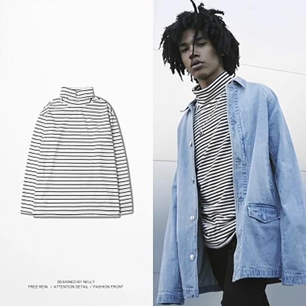 Hip Hop Hommes Tricoté Pull À Rayures Noir Blanc Pull Hommes Pulls À Col Roulé Style Coréen Blusas Masculino Vêtements MY33