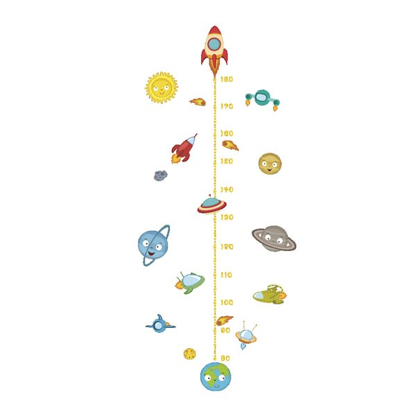 Universe Planet Wall Decor spacecraft Wall Stickers for Kids Room Home Decor Measure Height Poster Mural Wallpaper Wall Decals