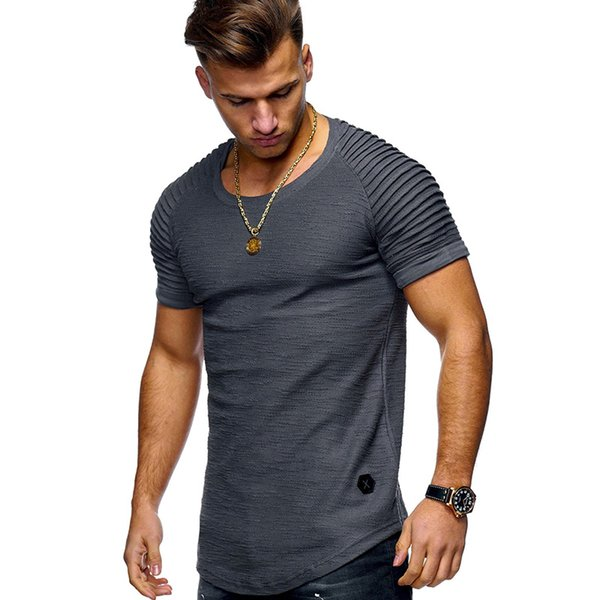 2019 Running Shirt Men T-shirt Short Sleeve Solid color slim Shirts Gym T Shirt Fitness Sport Mens Rashgard Soccer Jersey
