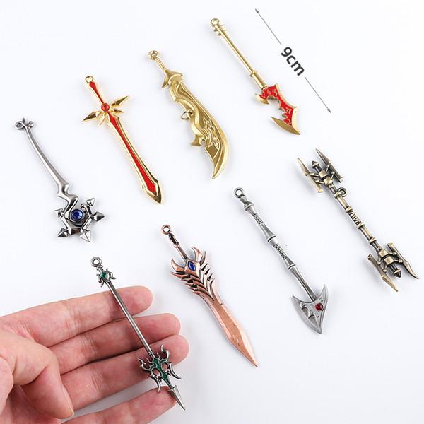 리그 오브 레전드는 LOL (11 개) 수집가의 판 열쇠 고리 박스형 LOL 캐릭터의 무기는 자동차 키 가방 키 체인에 대한 영웅 장난감 펜던트 키 체인