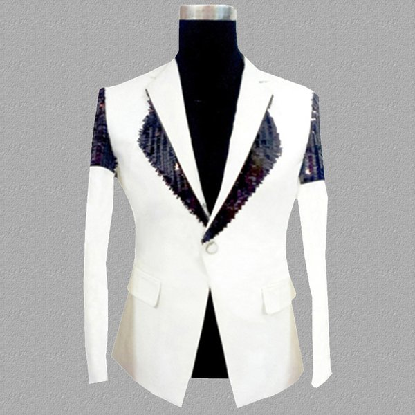 paillettes blazer hommes costumes conceptions veste costumes de scène hommes pour chanteurs vêtements danse star style robe punk rock masculino blanc
