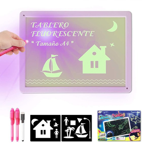 best selling 1PC A5 LED Luminous Drawing Board Graffiti Doodle Drawing Tablet Magic Draw With Light Fun Fluorescent Pen Educational Toy DHL
