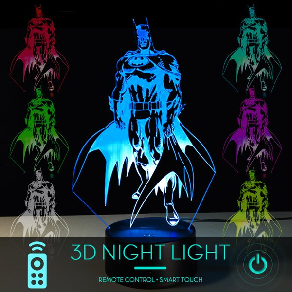 5 piece lot Superhero 3D Batman LED Night Light Touch Remote Control 16 Color Acrylic USB/Battery Bedroom Lights Creative Gifts Toy