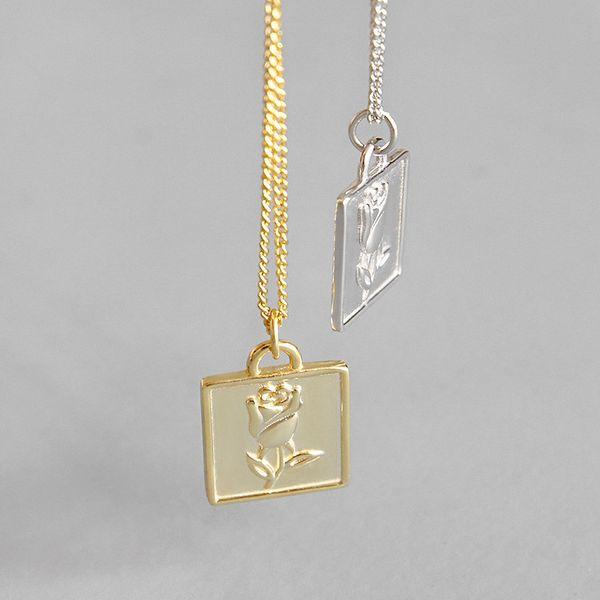 925 plata esterlina collares de flores de rosa geométrica simple collar colgante cuadrado para las mujeres joyas de plata 925 joyería