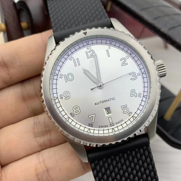 Disount preço pulseira de borracha parafuso coroa ponteiros luminosos automáticos e numerais arábicos Marcadores Branco Dial Mens Watch Piloto Relógios