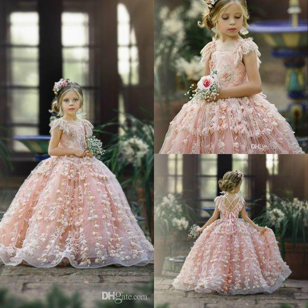2020 Luxo Floral vestido de baile Vestidos menina Jewel Neck Ruffle Beaded Flower Girl Feito à Mão Pageant Vestidos Custom Made aniversário do vestido
