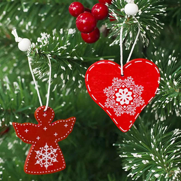 Christmas Decorations Wooden Ornament Xmas Tree Hanging Tags Pendant Decor Love Heart Angel Horse Bell Snowflake