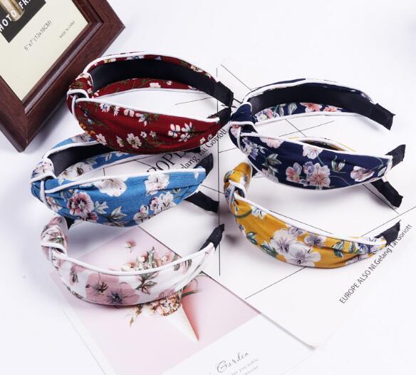 İlkbahar ve Yaz Yeni Stil Düğümlü Kafa Bandı ile Beyaz Kurdele Kırık. Baş Düğmesi Avrupa ve Amerikan Kumaş Şapkalar Saç Çember W1230