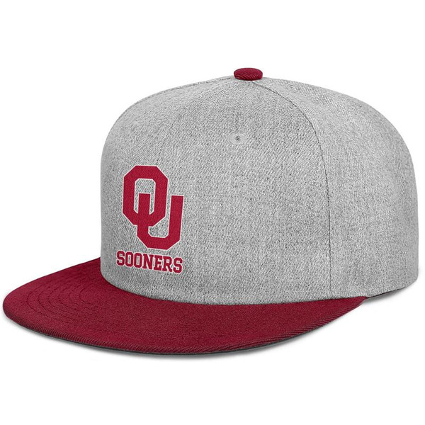 Oklahoma Sooners football logo mens and women flat brim hats burgundy snapback designer custom hats plain make your own custom your own cus