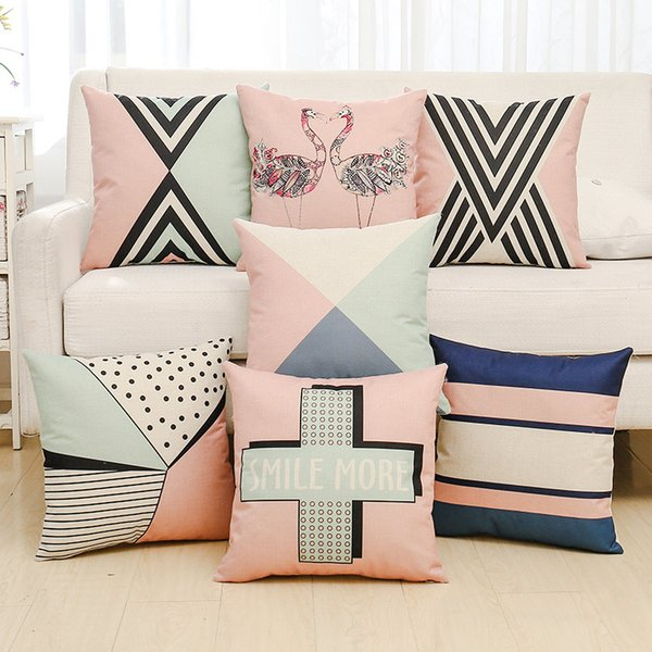 Pillow case Decoration English Alphabet Letter Cushion Cover with Inner Square Home Sofa Living Room Car Bedroom Bolster Brief Euro Deco