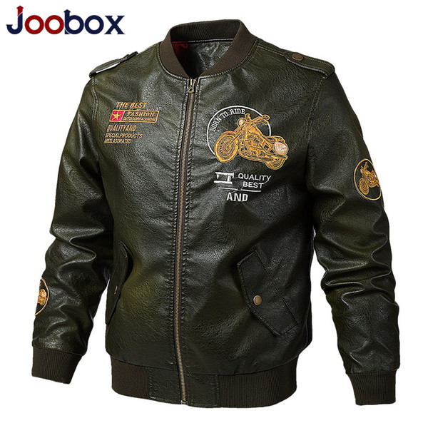 JOOOBOX Faux Leather Men Primavera Motociclista Leather Jacket Coats Bordado Bombardeiro piloto Jackets 6XL 5XL 4XL 3XL