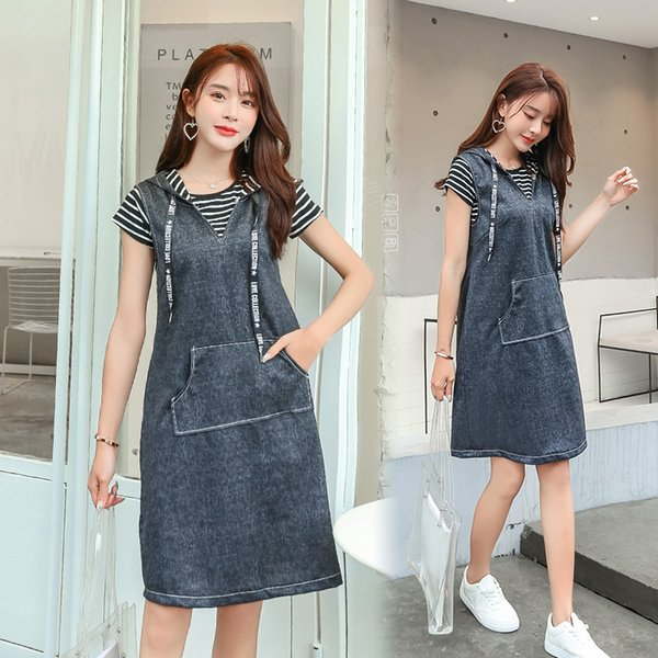 New Summer Style Women Dresses Plus Size Fashion Casual Loose Striped T-Shirt+ Hooded Vest Jeans Dress For Women Denim Two-Piece