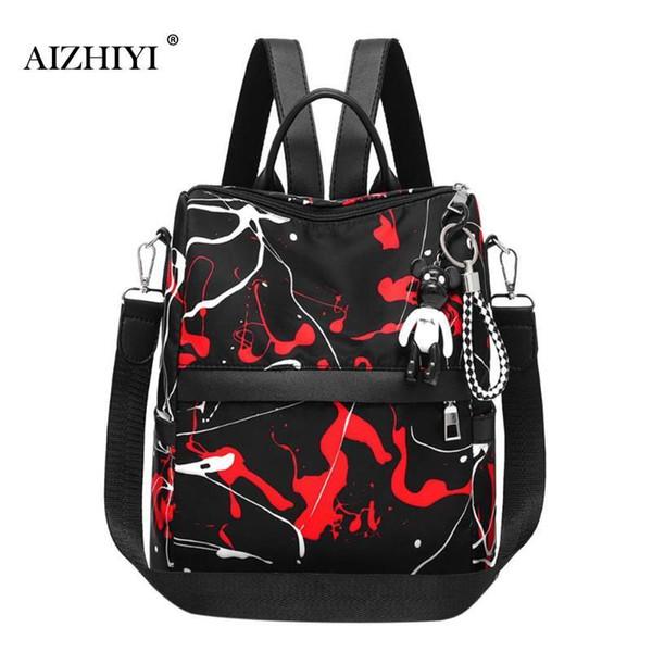 Women Street Printed Backpack Nylon Teenage Girls Travel School Shoulder Bag Fashion Cool Style Backpacks Travel Rucksack Bags C19032701