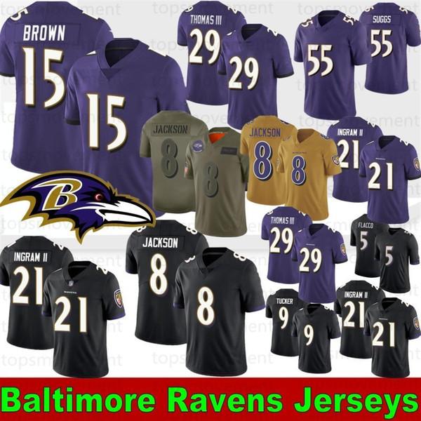 8 Lamar Jackson Baltimores Football Maillots Raven 29 Earl Thomas 15 Marquise Brown 9 Justin Tucker 21 Mark Ingram II 55 Suggs 81 Hurst 2019