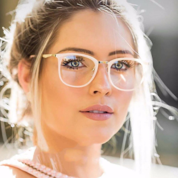 Retro Reading Glasses Famous Brand Designer Red Frame Women Clear Glass Metal+Acetate Frame Sunglasses Ultra-light
