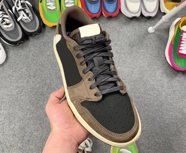 2020 2019 Authentic Travis Scott Air Low 1 OG SP Cactus Jack Black Dark Mocha University Red Sail 001Jordan Basketball Shoes Sneakers CQ4277 001 From