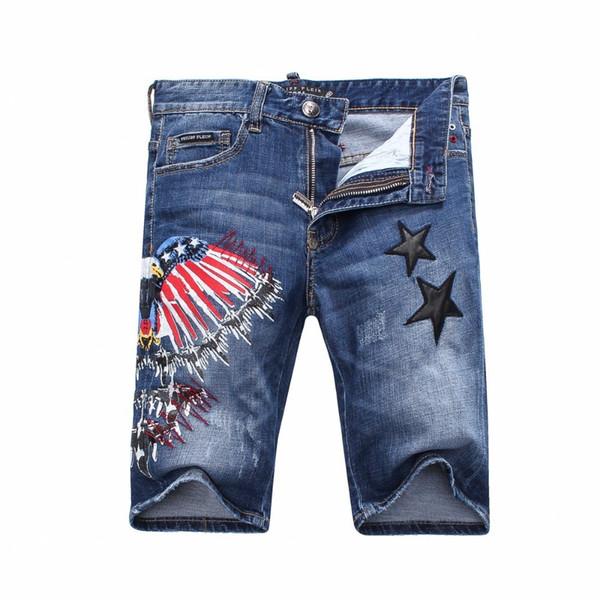 Heat Pin Trend Man Cowboy Full Marks In Pants Retro Do Used Hole Cowboy Shorts