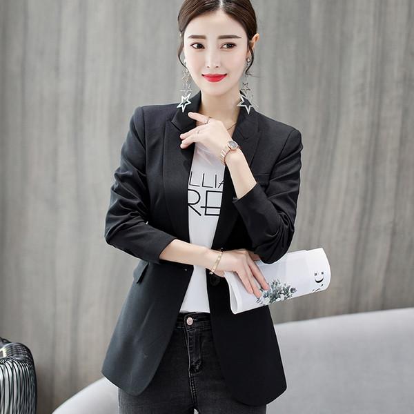 New 2018 Autumn Winter Korean Style Fashion Women Blazer Suits Casual Black Sky Blue Long Sleeve Female Blazers Elegant Clothes #408753