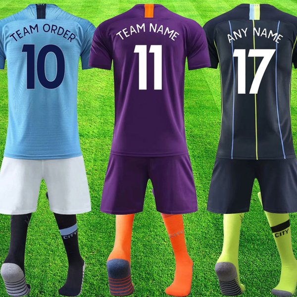 Top quality 2019 team order DE BRUYNE STERLING Soccer Jersey full sets with sock Football shirt G.JESUS STONES maillot Soccer Tops Kits