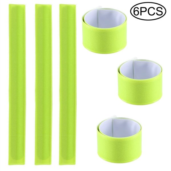 6 Pack Reflector Snap Bands - 30 x 3cm High Visibility Safety Bands Arm Ankle Wrist - Neon Yellow Reflective Luminous Strips #40347