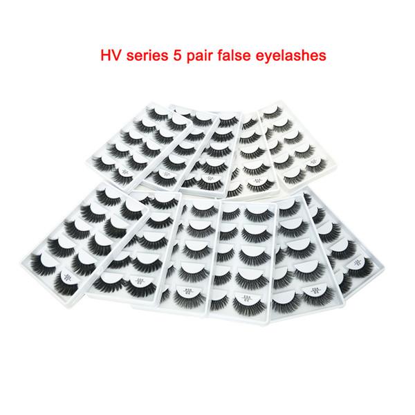 YENI HVseries 11 stil 5 pairs El Yapımı 3d vizon kısa kirpikler lashes Çapraz Dağınık Yoğun Doğal Göz Lashes Sahne Makyaj Yanlış Kirpik