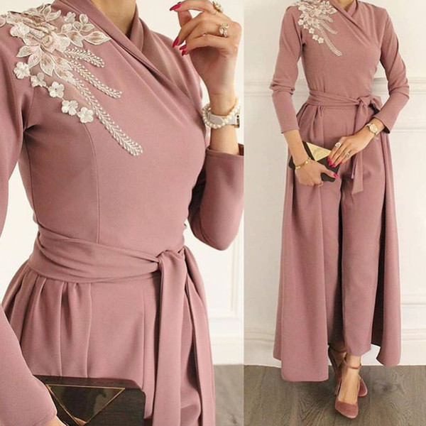 jumpsuit prom dresses high neck panty formal party dresses long sleeve sashes evening dress panty suits dresses