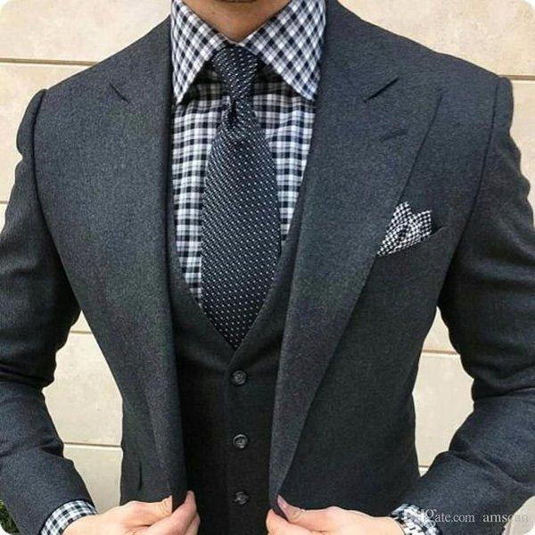 2019 Latest Coat Pant Designs Dark Grey Tweed Suit Men Slim Fit Formal Wedding Suits For Men 3 Pieces Men's Classic Suit Ternos CY18