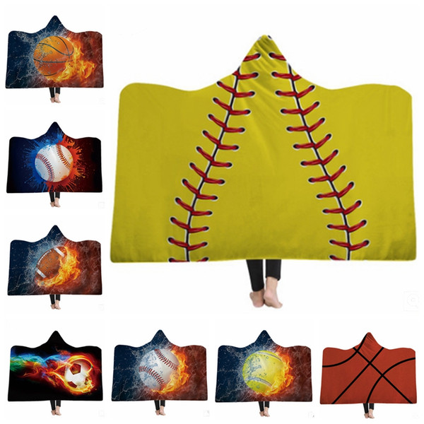 Kids Sherpa Blankets Sports Wearable Hooded Blanket Game Throw Blanket Soft Bath Towel Baseball Basketball Printed 19 Designs 5pcs YW2051