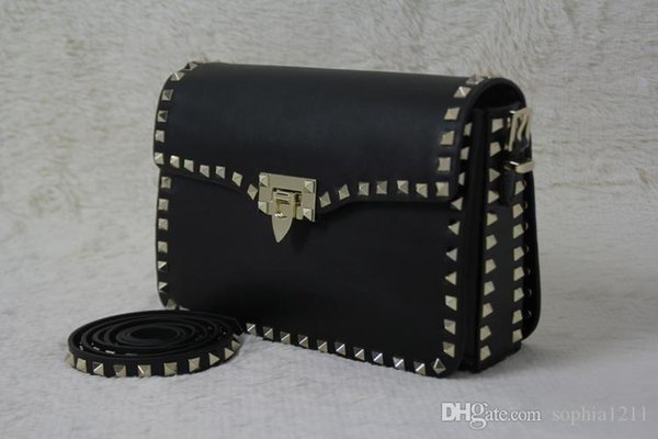 Factory Wholesale Genuine Leather women Bag Handbag Shoulder Bag Golden Rivets Valentine's Day Bags Long Shoulder Strap Black Color