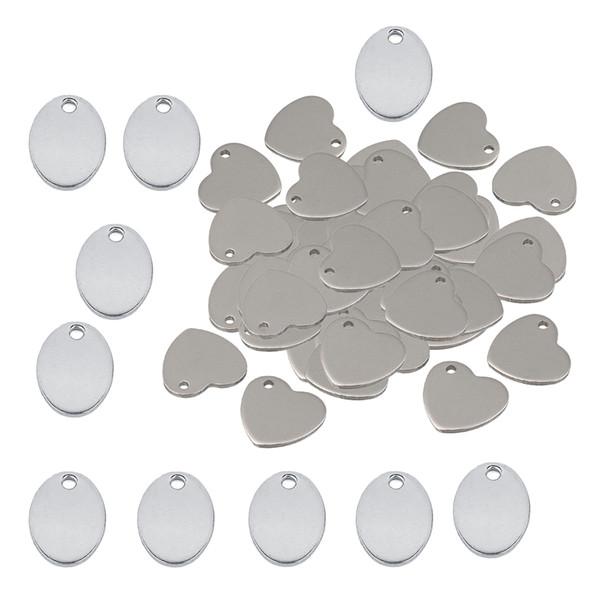 60 Pièces En Métal Plat Coeur Ovale Pièce Blanche Gravure Estampille Charmes Tag Pendentif Collier Bracelet Pendentifs pour La Fabrication de Bijoux