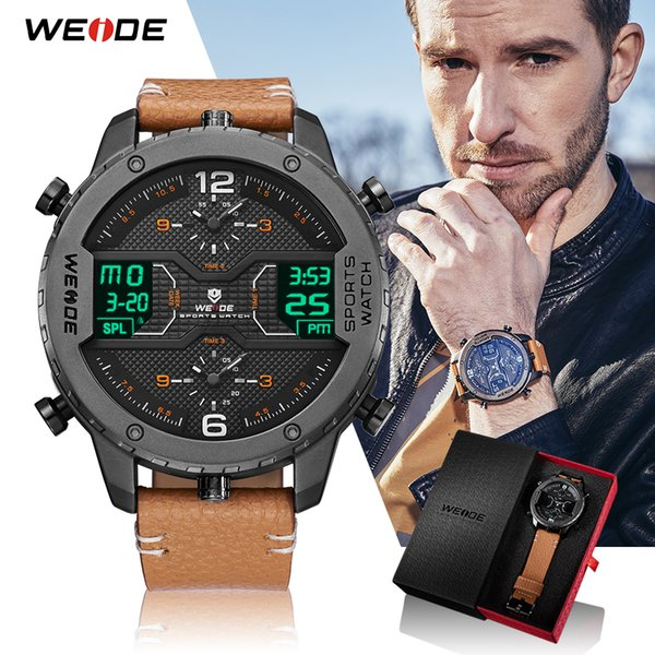 WEIDE Top Marque Sports Analogique Mains Calendrier Numérique Quartz Marron Bracelet En Cuir Montre-Bracelet Hommes reloj Hombre 2018 Militaire Horloge C19010301