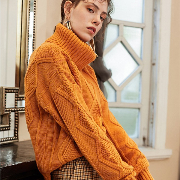 2019 Autumn Winter Wool Women Sweater Turn-down Collar Cashmere Sweaters Womens Loose Thick Pullover Female Plus Size Base Shirt