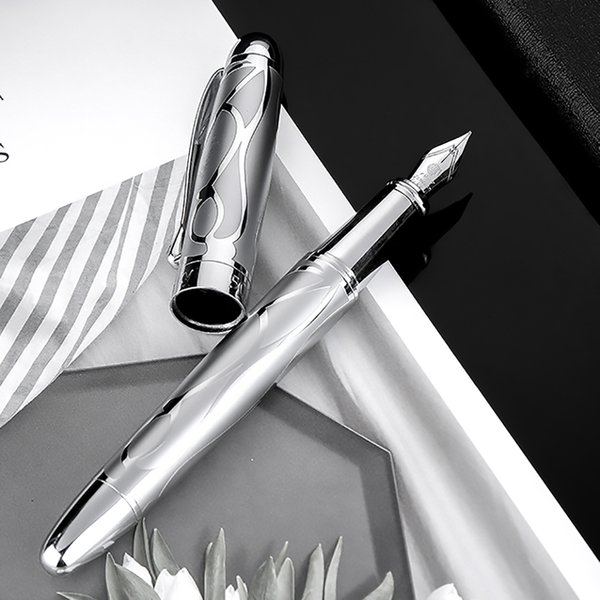 hongdian metal silver fountain pen renaissance 5010 beautiful embossed iridum ef/f nib writing gift ink pen for business office