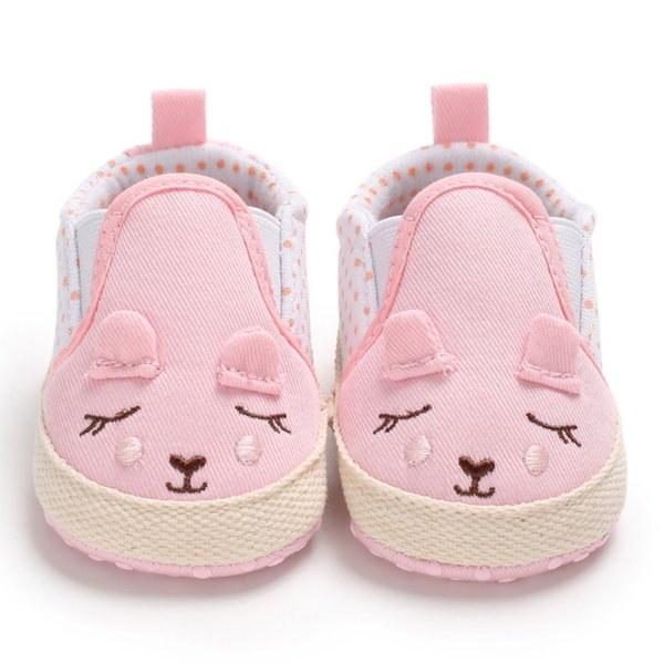 Baby Spring Canvas Girl Shoes Newborn Dot Cartoon Cute Baby Shoes 2018 New First Pedestrian Soft Princess