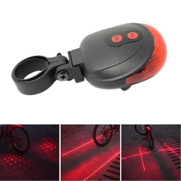High Quality Bicycle Laser Lights LED Flashing Lamp Tail Light Rear Cycling Bicycle Bike Safety Warning 5 Red Led Light Mode #738470