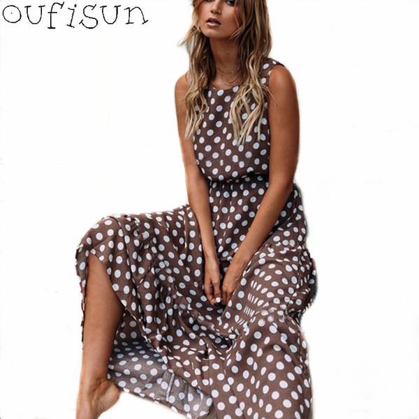 Oufisun Verão Sem Mangas Bolinhas Impressão Midi Vestido Casual Mulheres Moda Vestidos 2019 Nova A-Line Boho Elegante Marrom Vestido Longo