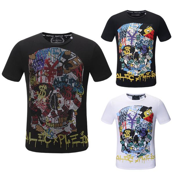 liangjia168liang / 2018 neueste Mode Sommer T-shirt Schädel Druck Baumwolle T-shirt Casual Männer Kurzarm Oansatz Tees Teenager Hot Tops