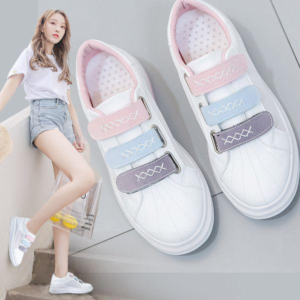 2019 Kadınlar Için Sneakers Yaz Kalın Alt Düz Topuk Kanca Döngü Kadın Beyaz Ayakkabı Deri Hava Örgü Kumaş Nefes Ayakkabı 35-40 MX190723
